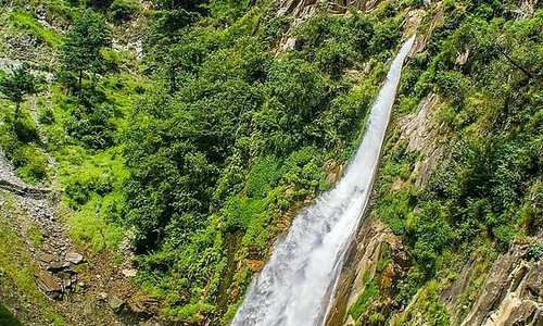 Cham  Waterfall is situated in Chinari  a beautiful village in Hattian Bala District of Azad Kashmir.
