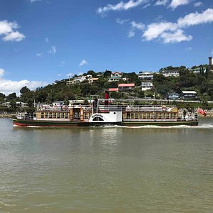 The Paddle Steamer Waimarie leaving her berth.