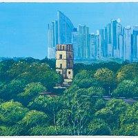 Antes y ahora. Obra de Enoc Rudas en homenaje a los 500 años de Panamá #Panama #ArteYArt #arte #pintura #torre #PanamaCity #panamaviejo #panamalavieja #fundacion #mola  #500anosPanama #500anos #500años