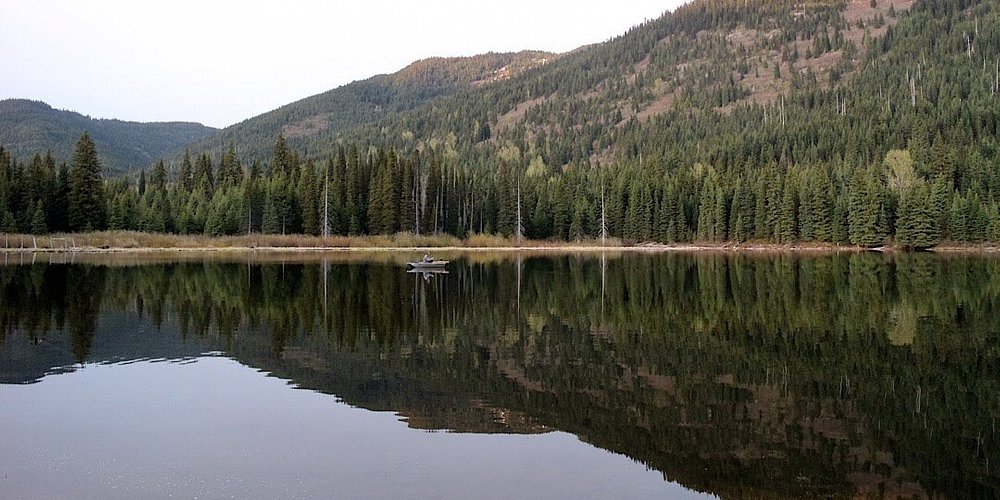 Evening fishing on small Coquihalla lake (from Cabin 8).