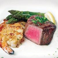 Grilled Filet with Grilled Shrimp and Steamed Asparagus