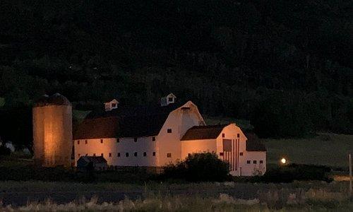 The Farm at dusk.