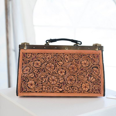 Hand carved leather Doctor's Bag by J.L. Blair Saddlery, By Western Hands' Legacy Artisan.