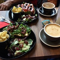 Open sandwiches, hot chocolate and oat latte
