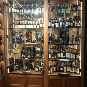 Rare whisky display in the basement