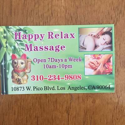 This is the business card from Happy Relax Massage