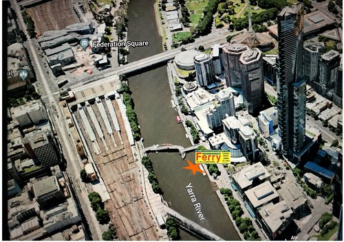 We are now on the downstream side of the Evan Walker Bridge.... in a line from the Eureka Tower.