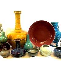 Antique coloured porcelains