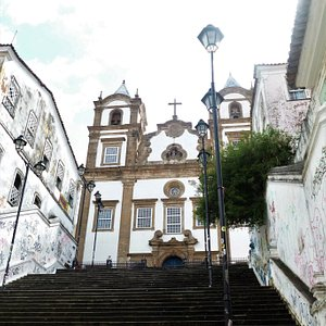 Igreja do Santíssimo Sacramento do Passo as seen from its monumental stairway in Salvador.