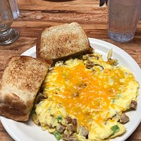 Really amazing breakfast!  Western Frittata, Italian Omelet, and chocolate chip pancake.  Delicious!