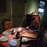 Sitting at the table in the weaver's house - realising just how poor they were