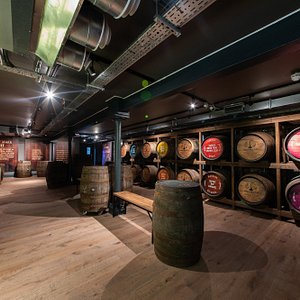 """The """"bonded warehouse"""" where visitors learn about coopering, the impact of casks on flavour and the maturation process."""