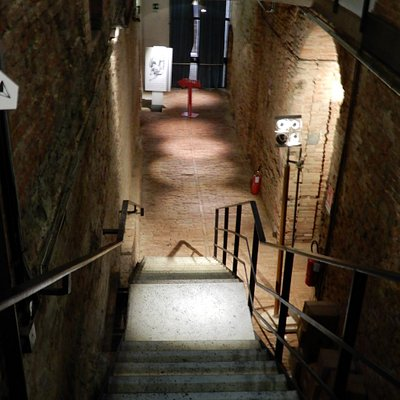 Stairway down to the exhibition space