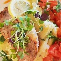 Zeebaars op een bedje van rucola puree met een tomatensalsa | Brasserie VERS 010