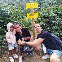 Italia toma cafe en la finca La Leona, Denise, Alessandro