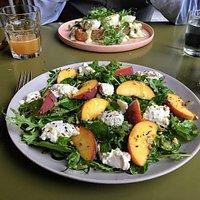 Ricotta, Peach, Mint and Hazlenut  Dukkah Salad
