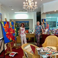 Sylvia Ditchburn Fine Art Gallery showing interior with Sylvia and Ken