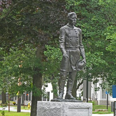 The Joshua L Chamberlain Statue is on the Bowdoin College campus in Brunswick, Maine.