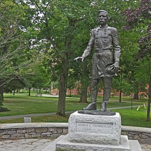 The Joshua L Chamberlain Statue, on the Bowdoin College campus, commemorates one of Maine's Civil War heroes.