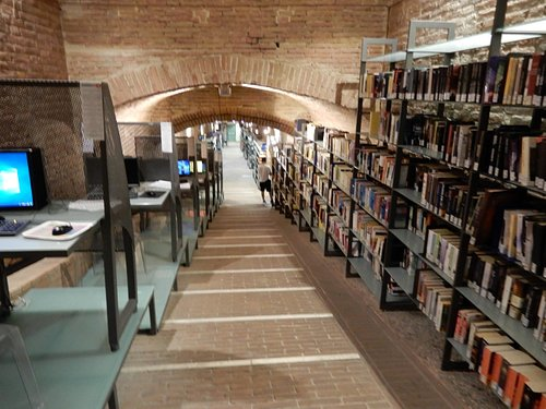 Vaulted tunnel down to the main part of the library