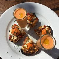 Salmorejo with toasted sourdough with escalivada, goat's cheese and romesco.