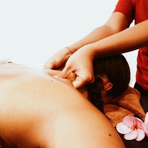 Back and shoulders massage, our most popular treatment.