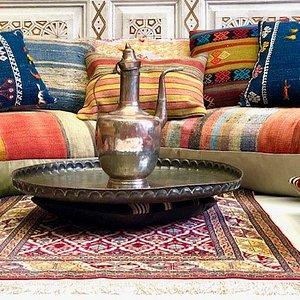 Bright kilim  throw pillows make a great Turkish Corner