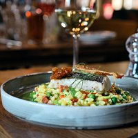 Hake Fillet atop creamy 'paella-inspired' risotto