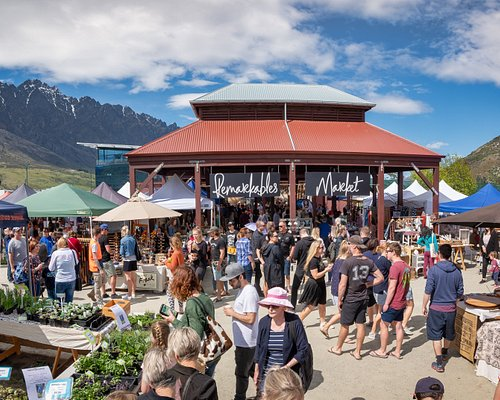 Our market entrance, framed by the Remarkables mountain range.