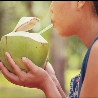 Coconut water directly from the shell