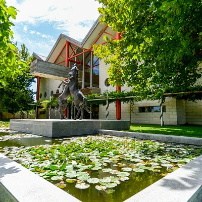 The beautiful entrance to the Rymill Coonawarra cellar door, complete with bronze stallions, pond, and observation decks.