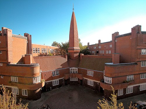 """World famous social housing complex """"Het Schip"""" with it's tower."""
