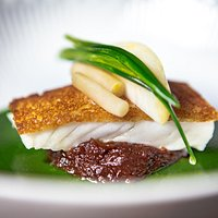Roasted turbot with braised ox cheek and parsley/garlic sauce