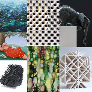 Een collage van kunstobjecten die je in de galerie/ op de website www.galeriederuimte.nl kunt vinden.