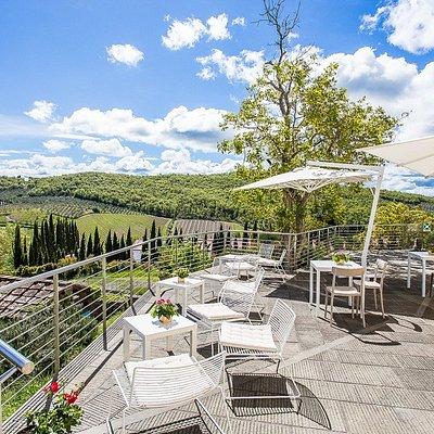 La nostra terrazza panoramica sulle colline del Chianti