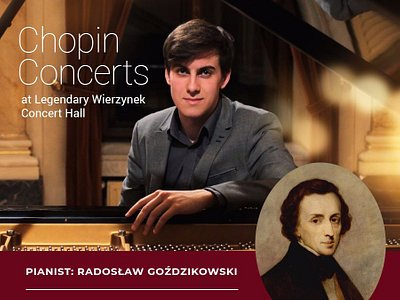 We welcome you very warmly and cordially to our concerts dedicated to Frederic Chopin's Works – the icon of the classical Polish and European music and the real poet of the piano. Born in Poland, he spent the rest of his life in Paris, where he died in 1849. The pieces of music composed by Frederic Chopin are full of longing for his beloved country, they are full of expression and romanticism.
