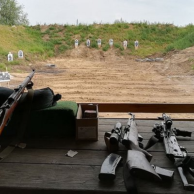 Many different soviet era or modern guns
