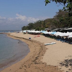 Semawang Beach, Sanur, Many small warungs to your right