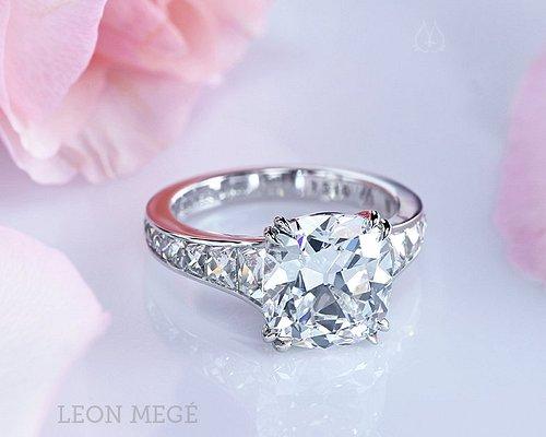 Mon Cheri diamond engagement ring with 4 carat true antique cushion diamond by Leon Mege
