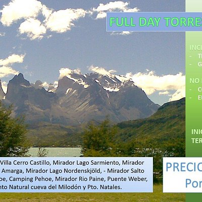 TARIFA INVIERNO: hasta 31 de Agosto.  Full day Torres del Paine.