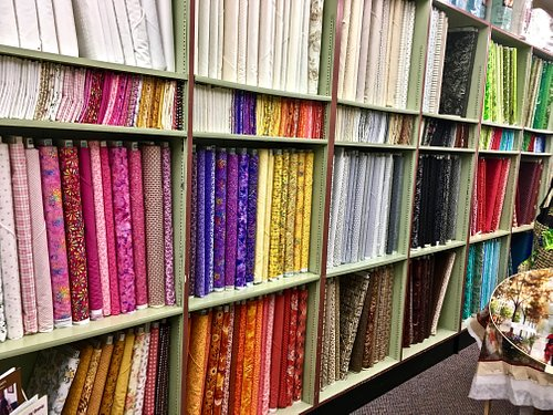 Hundreds of bolts of quality quilt fabric.