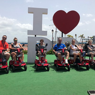 The last stop of our San Juan Scooter Rental tour around Old San Juan was the I heart PR sign.
