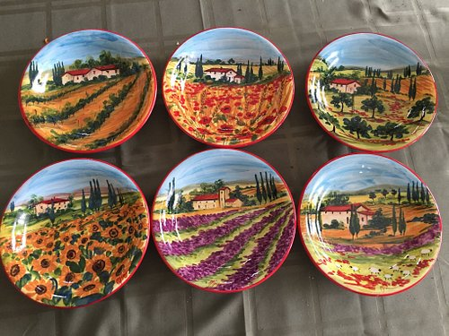 plates in tuscany landscapes