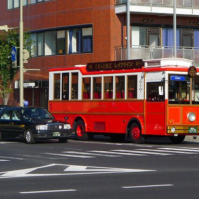 The recognizable red bus