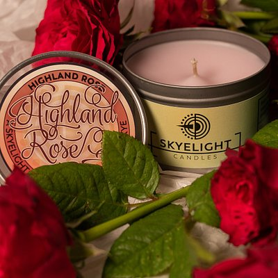 Highland Rose Fragrance Tin candle.