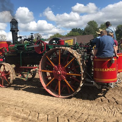 Must be a thousand old tractors at the Thresheree plus much old farm equipment. Stars of the show were steam engines like these.