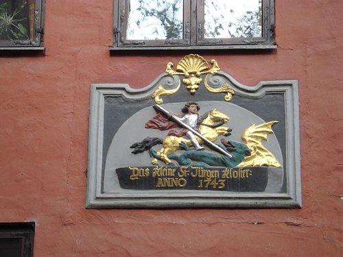 Fin platta på Kloster St. Jürgen am Strande i Stralsund