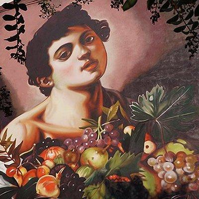 Riproduzione con la tecnica dei colori spray del dipinto di Caravaggio (1571-1610) Il fanciullo con canestra di frutta, realizzata dall'artista Andrea RAVO Mattoni in occasione del Settembre Angerese 2016, nell'ambito del suo progetto Una Pinacoteca a cielo aperto. L'opera è stata realizzata grazie al contributo della Famiglia Tedeschi e della comunità angerese. Via Mario Greppi 21