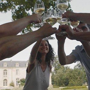 Wine tasting at Château de Reignac with Bordeaux Wine Trails. Cheers!