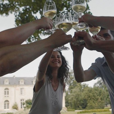 Wine tasting at Château de Reignac with Bordeaux Wine Trails. Cheers!
